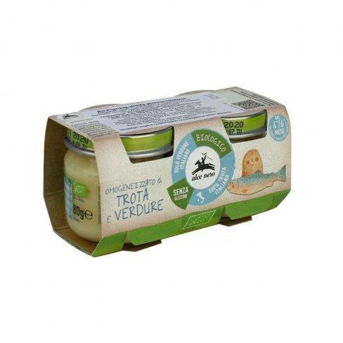 Vásároljon Bio alce nero pisztráng-zöldség pástétom babáknak 2x80g terméket - 1.609 Ft-ért