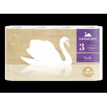 Háztartási Toalettpapír Trend Harmony Soft Cream Aroma 3 Rétegű 8 Tekercses Fehér Mintás 17,5M